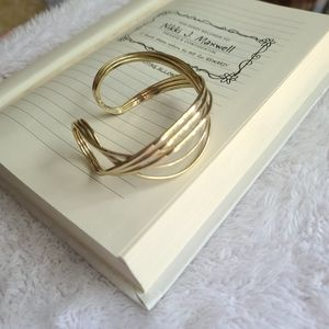 Letter C Twisted Wide Gold Bangle